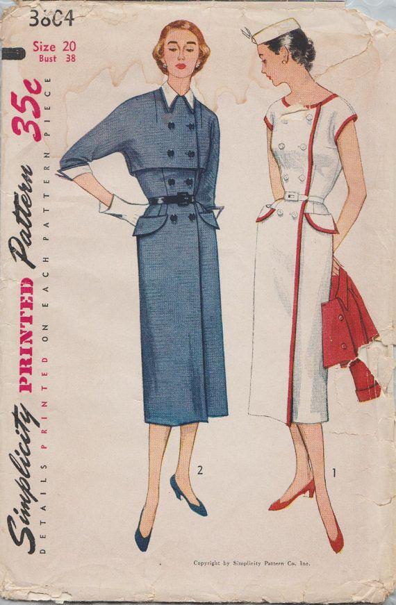 Eenvoud 3804 / Vintage 50s naaien patroon / Wraparound jurk en Bolero jasje / Size 20 buste 38