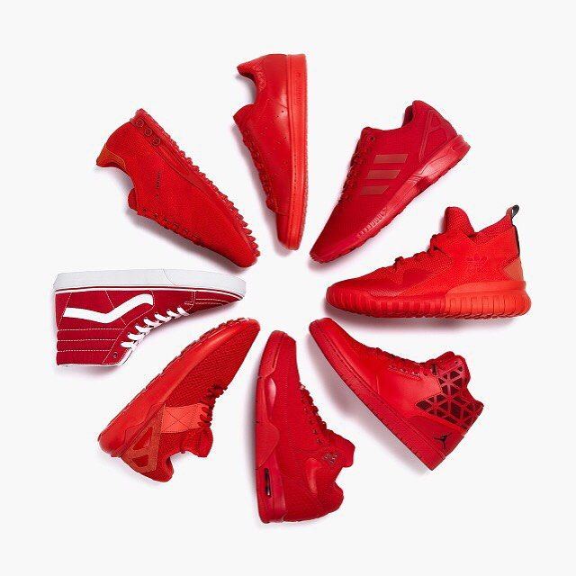Since the launch of the Nike Air Yeezy Red October, red sneakers are featured in all seasons of every major brand. What do you think about this trend? #sneakers #sneakerhead #nike #adidas #vans #af1 #stansmith #superstar #jordan #yeezy #rafsimons #roshe #red