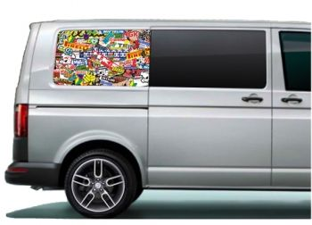 VW Transporter rear side panel printed graphics, pre-cut to fit the T5
