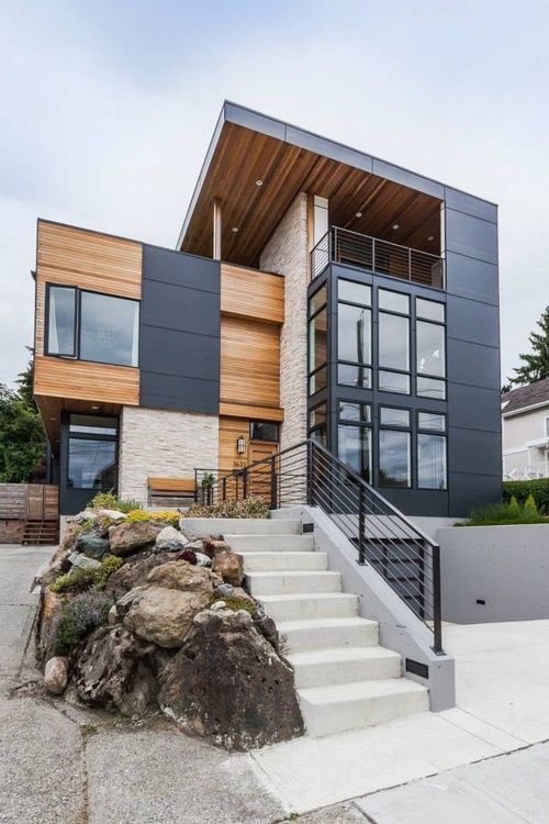 Modern Exterior Home who says you need to use just one form of siding on your home fiber cement comes in so many different shapes and sizes its possible to combine them for a Contemporary Home Exterior