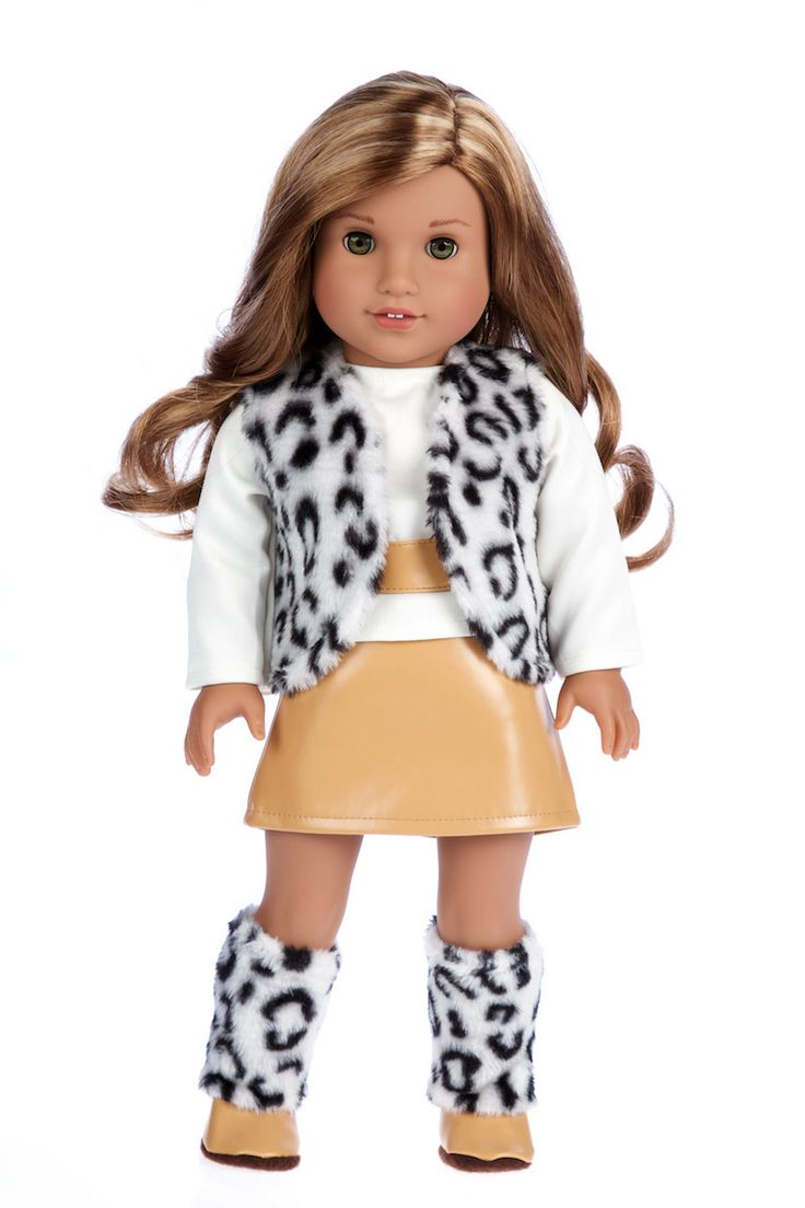 Snow Leopard - Clothes for 18 inch Doll - Faux fur Vest and Boots matched with a Mini Leather Skirt and Ivory Blouse