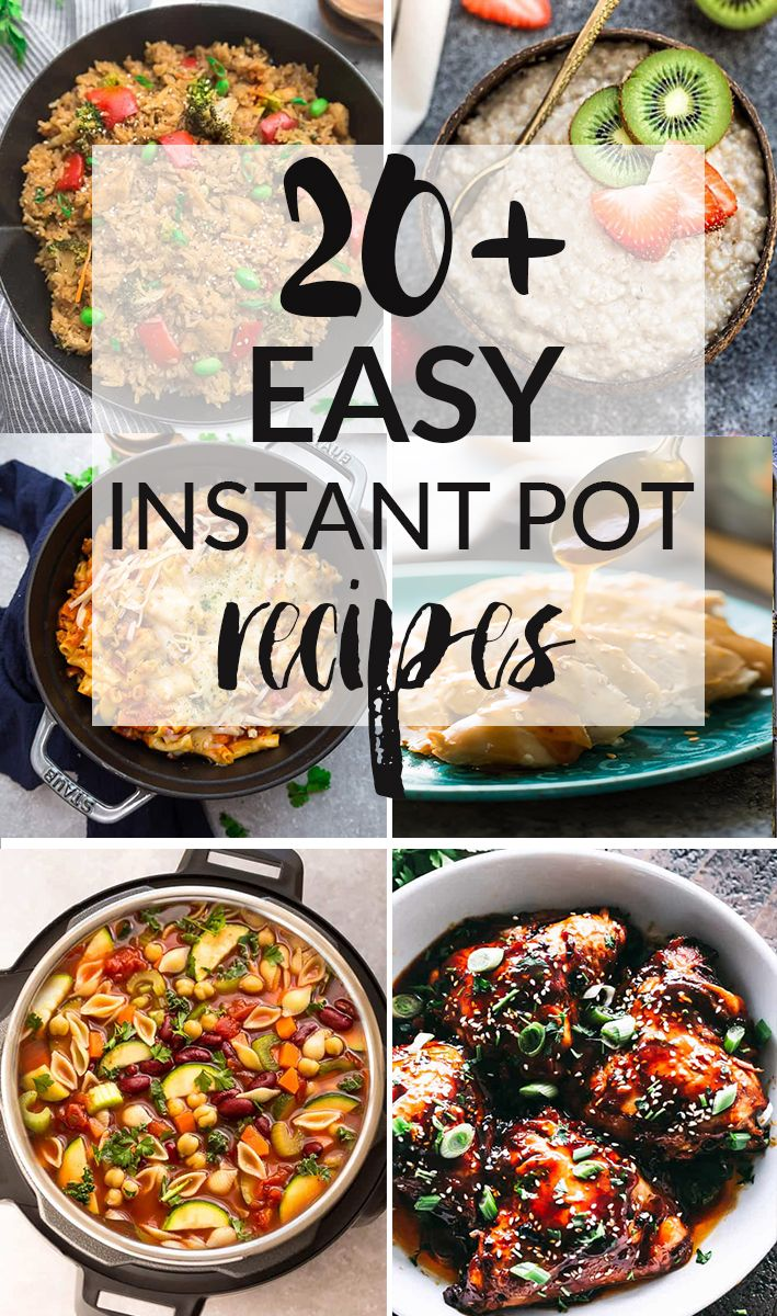 20+ Easy Instant Pot Recipes that are perfect for busy families! Best of all, there's something for everyone - soups, breakfast, lunch and dinner options! Includes Minestrone, Hard Boiled Eggs, Oatmeal, Honey Garlic Chicken, Brown & White Rice, Chili, Chicken dinners, Teriyaki Rice, Beef Stroganoff, Sweet potatoes, Pot Roast, and more! #instantpot #pressurecooker #recipes