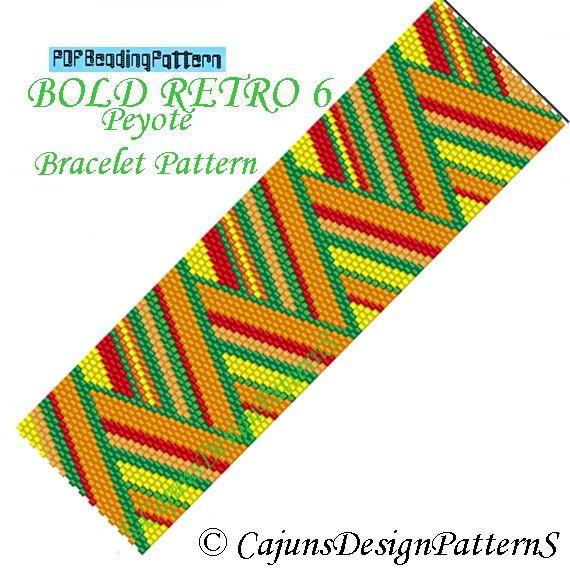 BOLD RETRO 6Peyote Cuff Bracelet Pattern by CajunsDesignPatternS, $6.50