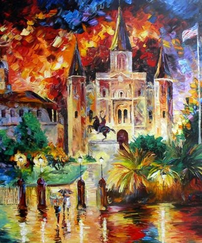 Daniel Wall's impressionist style painting of New Orlean's St. Louis Cathedral.