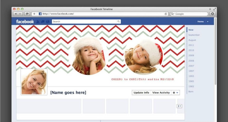 Christmas Facebook Timeline Cover Photo Profile Banner Chevron for Photographers or Individuals - Holiday Facebook Timeline.