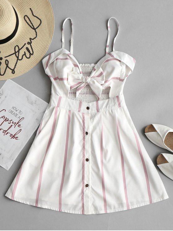 Tie Stripes Cut Out Mini Dress - STRIPE S
