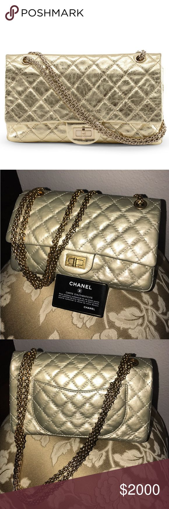 ✨Authentic CHANEL Gold Double Flap Bag ✨Authentic CHANEL Gold Double Flap Bag. Oh, What A Bag! Metallic Gold Guilted Calfskin Crafted Into The 227 Size Double Flap Re-issue Bag Featuring A Mademoiselle Chain & Turn Lock In Matching Gold Hardware. ✨Guaranteed Authentic✨ CHANEL Bags Shoulder Bags