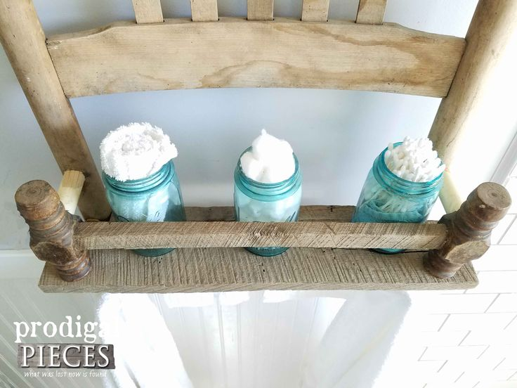 Blue Ball Jars on Repurposed Broken Chair Shelf by Prodigal Pieces   www.prodigalpieces.com