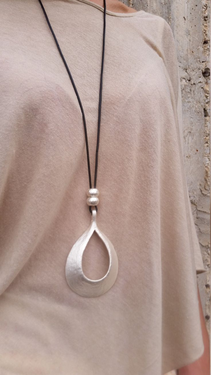 silver pendant necklace, black leather necklace, long necklace, statement necklace, large necklace, silver beads  pendant, stylish necklace. by danielapalatnik on Etsy