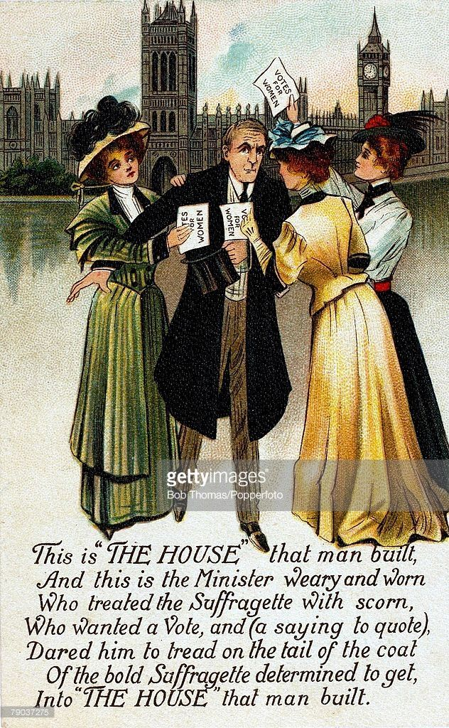 England / Social History, Colour illustration, Suffragettes, Three women confront the Minister in their fight for votes outside the Houses of Parliament, circa 1910
