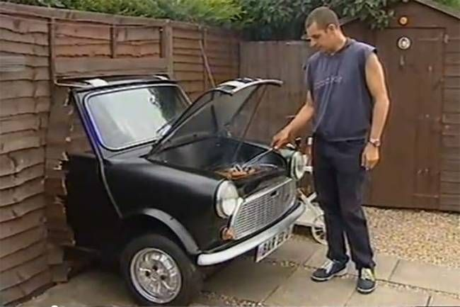 16.) This barbecue was made from the front end of a Mini Cooper.