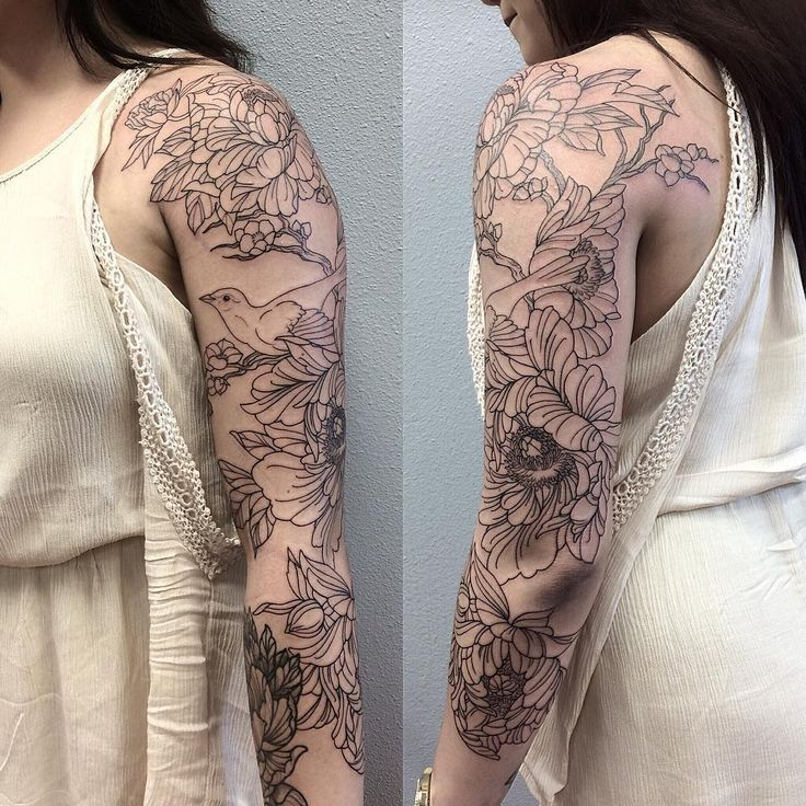 """""""I started this peony/bird 3/4 sleeve on lovely Adrianna today. Shading is soon to come. (These pictures remind me of Rey from The Force Awakens for some…"""""""
