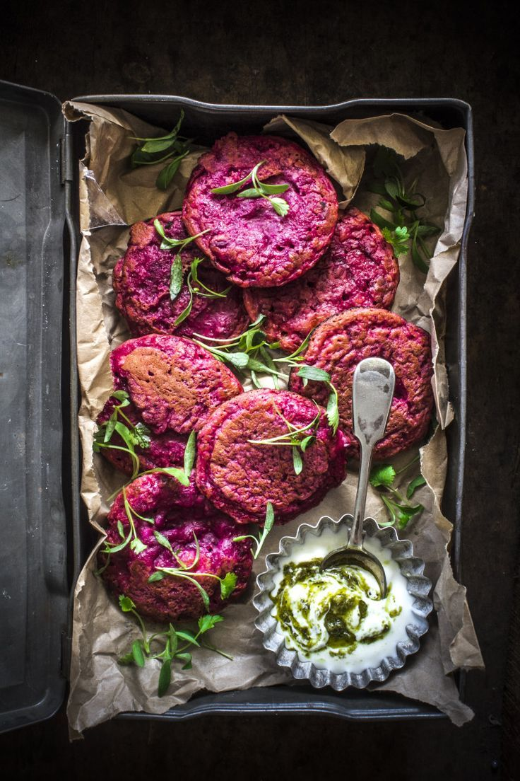 Beetroot And Feta Fritters.