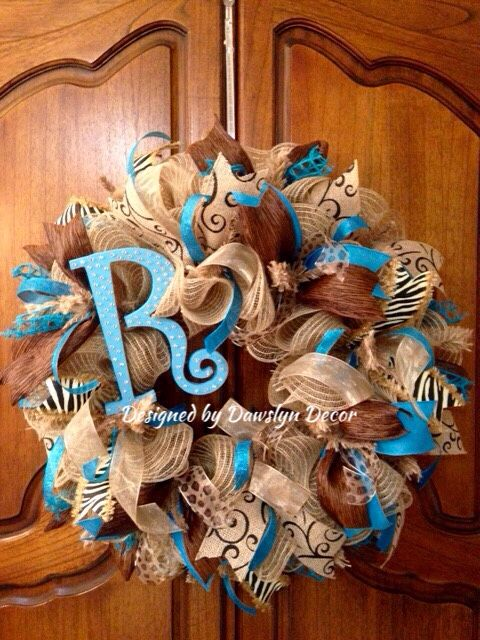 Initial Turquoise Animal  Print Deco Mesh Ruffle Wreath by Dawslyn Decor on Etsy and Facebook