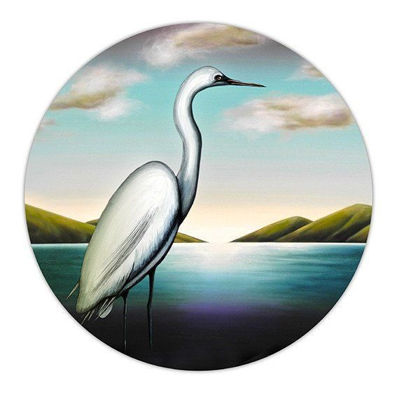 He Kotuku Rerenga Tahi II. Giclee print on Hahnemühle archival paper. Limited edition of 100. White Heron. Juliet Best Art Prints, Wellington, New Zealand, NZ.