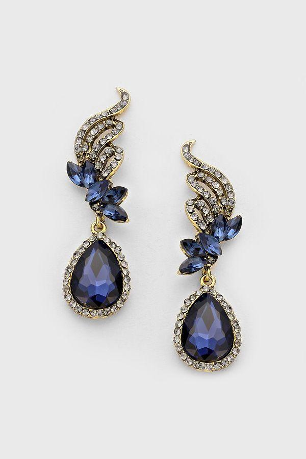 crystal tiffany earrings in sapphire