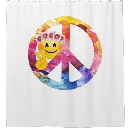 #Peace Sign Hippie Emoticon Watercolor Art Shower Curtain - #emoji #emojis #smiley #smilies