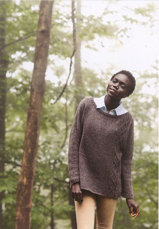 Idlewild from Brooklyn Tweed: Loose fitting with relaxed styling, the Idlewild pullover features a beautiful, asymmetrical cable panel. For finished chest measurements of 33 (36.75, 40.5, 44.25, 48, 51.75) inches, you will need 8 (8, 9, 10, 11, 12) skeins of Brooklyn Tweed's Shelter. You will also need US #8, 40-inch circular needles (OR size needed to obtain gauge); 24-inch needles two sizes smaller than gauge needle; and double pointed needles one size smaller than gauge needle. Gauge is…