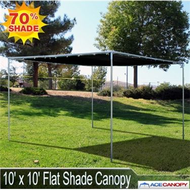 10' x 10' Flat Shade Canopy  The 10x10 Flat Shade Canopy features a flat roof and mesh top. Our Flat Shade Canopies are perfect for just about any occasion! They're easy to set up, require no tools, and their low-profile look means they can be used and still be functional almost anywhere!