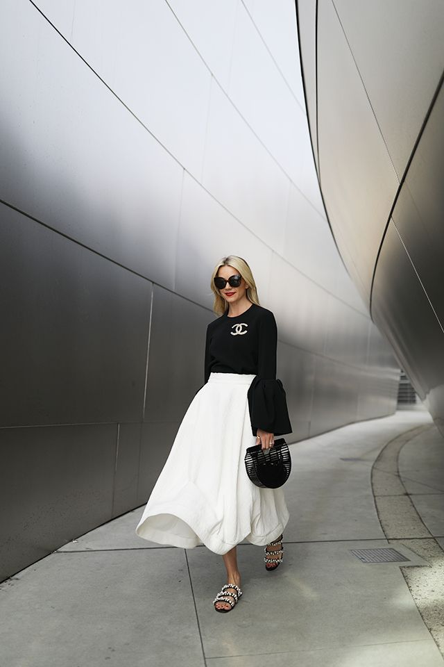 Skirt: C/MEO. Top: Roksanda (also love this floral bell sleeve top and this peplum bell sleeve). Shoes: Zara (similar). Bag: Cult Gaia. Pin: chanel. Lips: Stila 'Beso'.