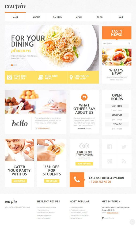 Cafe And Restaurant WordPress Template 47527 by rajesh mj, via Behance