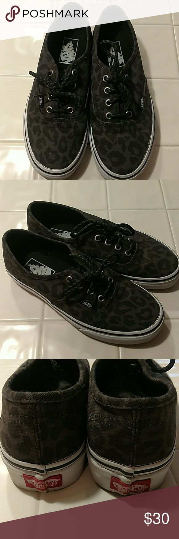 Vans Animal Print Shoes Great condition, worn twice. US women's 7.5, men's 6. Black & gray animal/leopard/cheetah print. Smoke-free home. Vans Shoes Sneakers