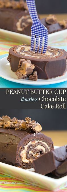 Peanut Butter Cup Flourless Chocolate Cake Roll - fill a tender sponge cake with peanut butter mousse studded with peanut butter cups and drench it in chocolate ganache for a decadent dessert recipe (gluten free too)! | http://cupcakesandkalechips.com