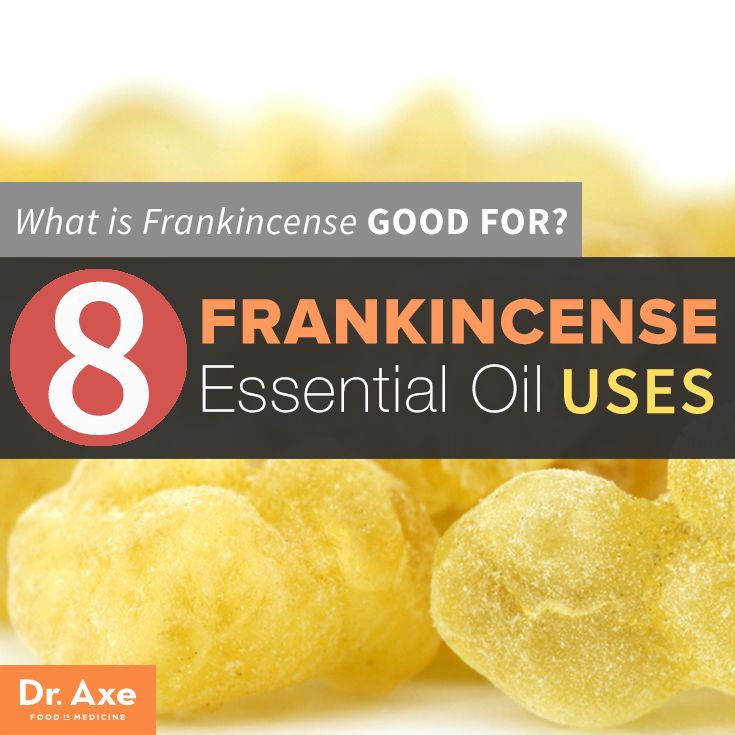 What is Frankincense Good For?  8 Essential Oil Uses -Frankincense, sometimes referred to as olibanum, is a common type of essential oil used in aromatherapy that can offer a variety of health benefits: helping to relieve chronic stress and anxiety, reducing pain and inflammation, boosting immunity, and even fighting cancer.