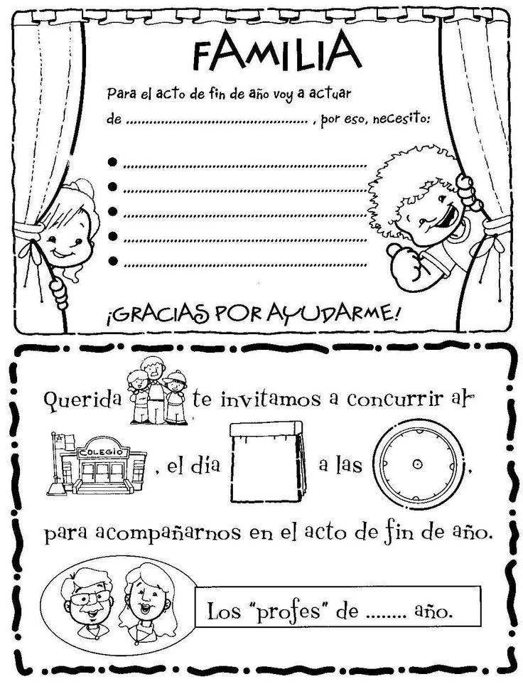 Plantilla original para invitar a los padres al acto de final del curso escolar. Recursos escolares