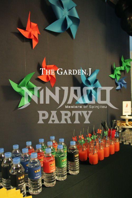 ninjago party - pinwheel decorations!