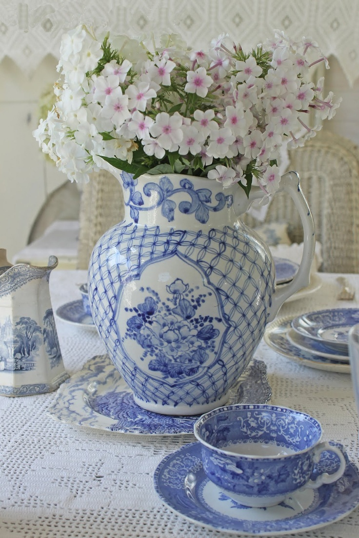 477 best flowers in blue white images on pinterest blue and blue and white tablescape with blue and white tea cups and saucers dhlflorist Image collections