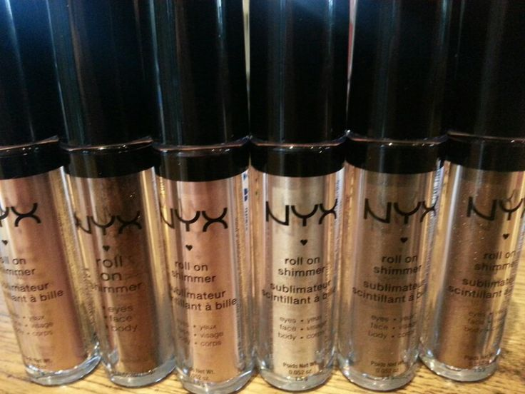 NYX roll on shimmer, simply amazing Salmon, *Chestnut, Nude, Platinum, Taupe, Walnut