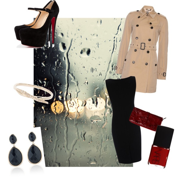 """Rainy night on the town"" by rachel-obrien on Polyvore"