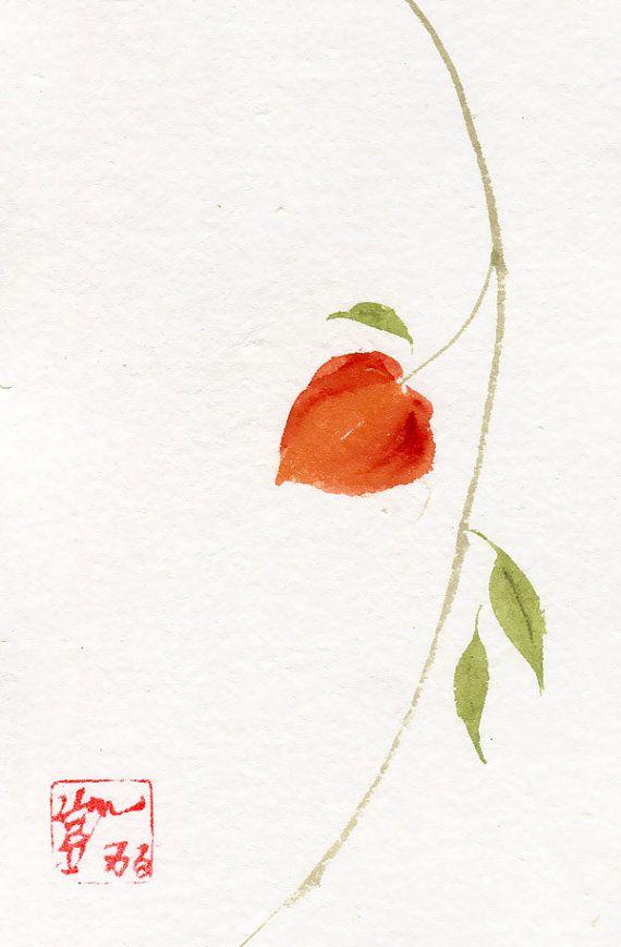 Chinese Lantern Original Sumi-e Chinese Brush Painting