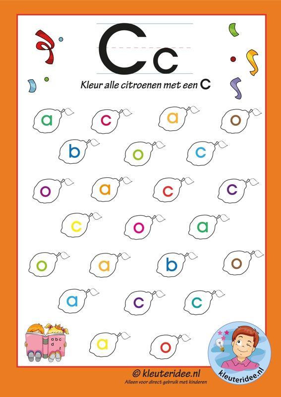 Pakket over de letter c blad 6, kleur alle citroenen met een c, letters aanbieden aan kleuters, kleuteridee.nl, free printable.
