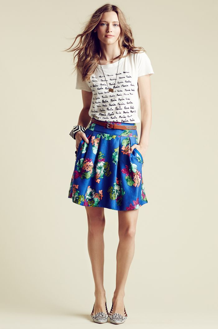 Graphic tee, patterned skirt