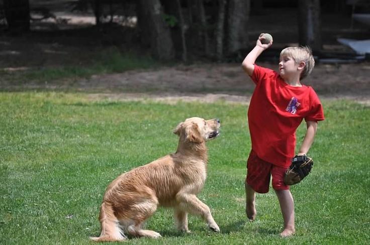 Koda loves playing ball with kids at camp. www.deerhorn.com