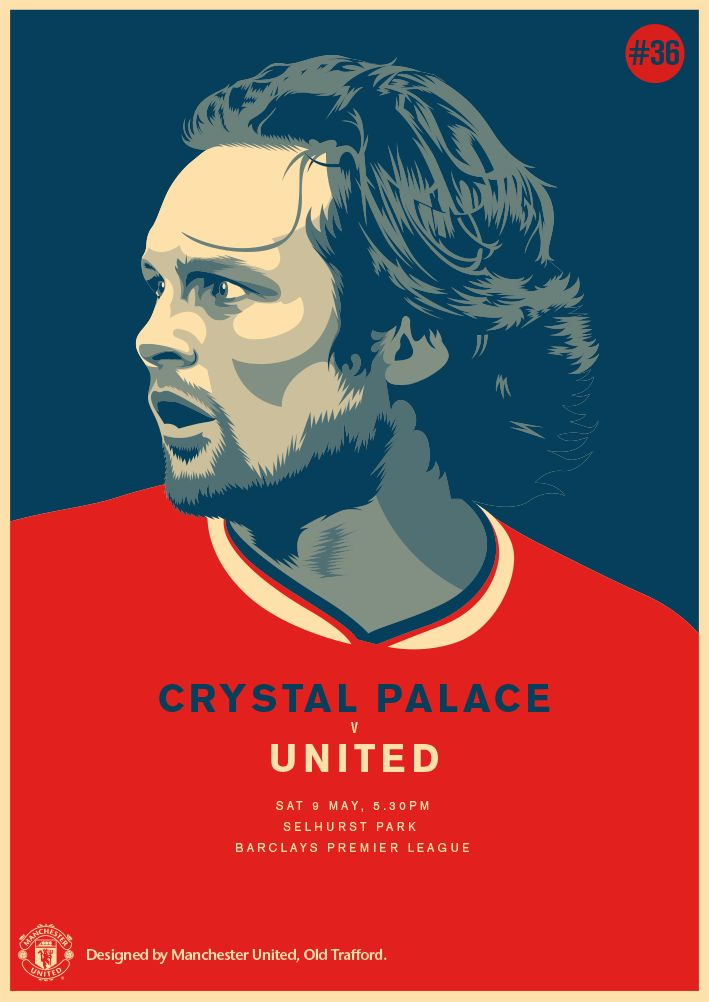 Match poster: Crystal Palace vs Manchester United, 9 May 2015. Designed by @manutd.