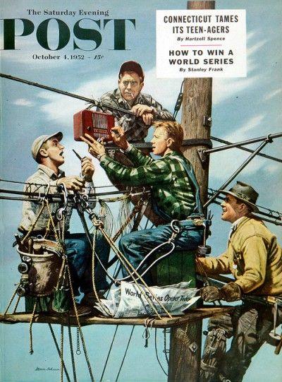Linemen Listen to World Series  Stevan Dohanos  October 4, 1952