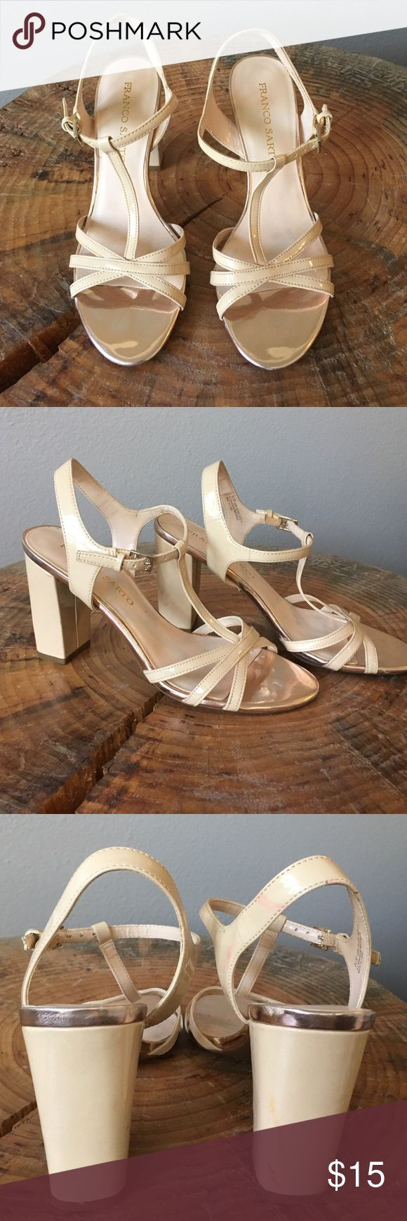 Frank Sarto T strap sandals These beautiful neutral sandals were only worn once at a wedding. There are some slight markings on the heels (as shown in the picture) but otherwise they're in excellent like new condition Frank Sarto Shoes Heels