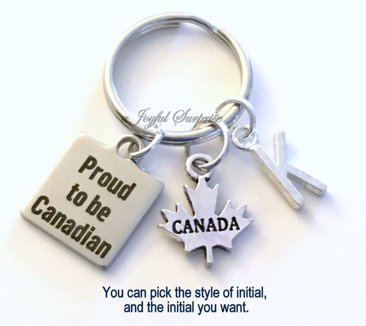 Proud to be Canadian KeyChain, Canadian's Key Chain, Canada Keyring, Gift for New Citizen Birthday Present silver pewter initial maple leaf by aJoyfulSurprise on Etsy