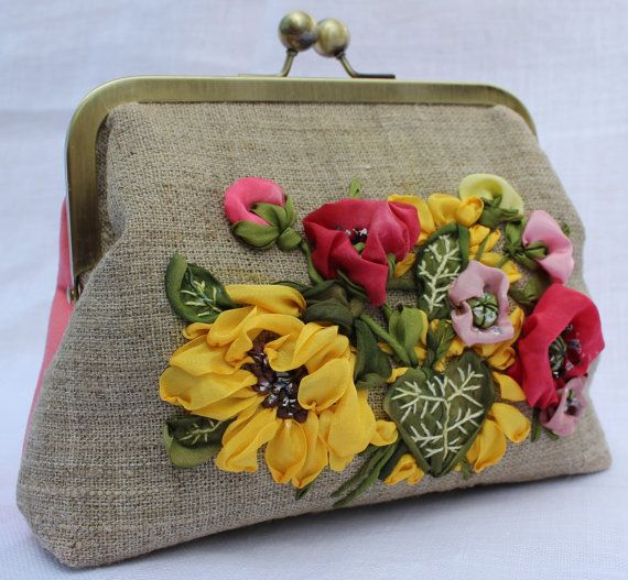 Clutch purse bag silk ribbon embroidered by SilkRibbonCreative