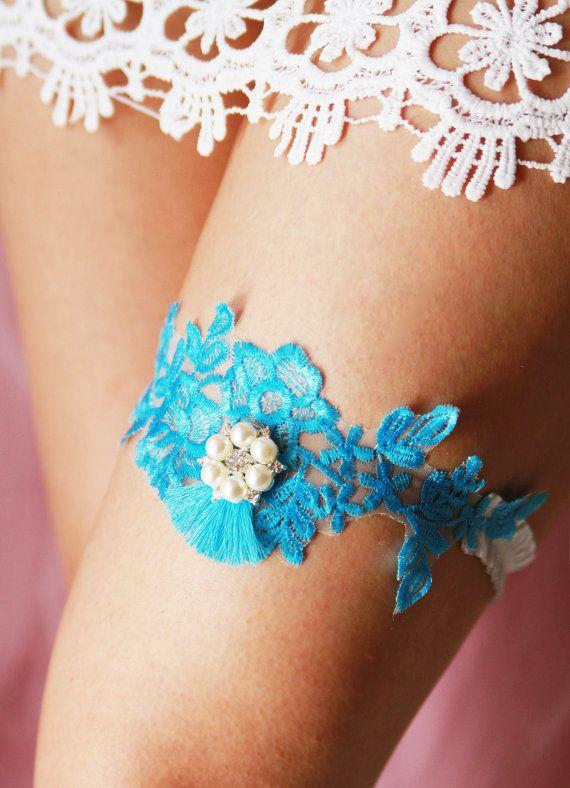 Exclusive Wedding Bridal Lace Garter  SOMETHING BLUE Garter Belt by NAFEstudio