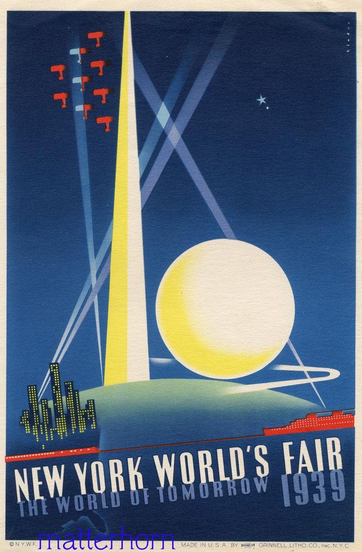Poster design keywords - World S Fair 1939 New York Poster Keywords Art Deco Poster Illustration