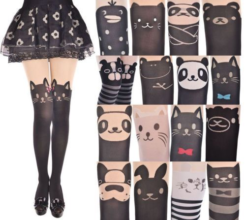 Details about Japan Women Cute Cartoon Animal Mock Knee High Tattoo Stocking Pantyhose Tights