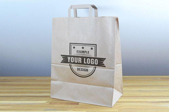 Paper Shopping Bag on Desk Mockup - Mediamodifier - Online mockup generator