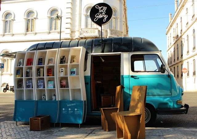 Tell a Story is a library on wheels that circulates in Lisbon making known to foreign tourists, authors of Portuguese literature translated into English, French, German and Spanish. Ler mais: http://visao.sapo.pt/tell-a-story-literatura-sobre-rodas=f747231#ixzz3NpEBs2Fv