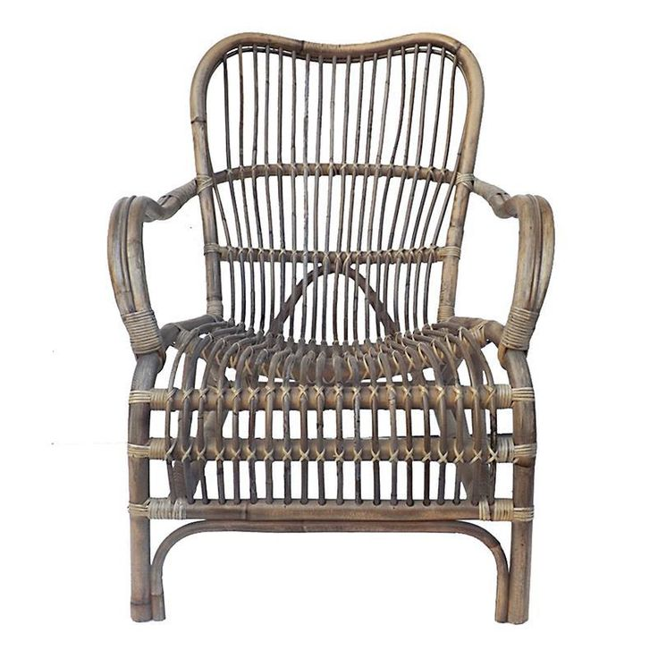RATTAN LOUNGE CHAIR IN BROWN-GREY COLOR 60X78X85