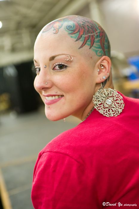 Head Tattoo Bald Girl Tumblr Bald Women Cool