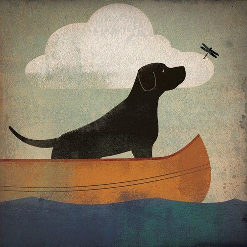 My fav with the dragonfly    BLACK DOG DRAGONFLY Labrador Retriever Canoe Ride by nativevermont, $39.00